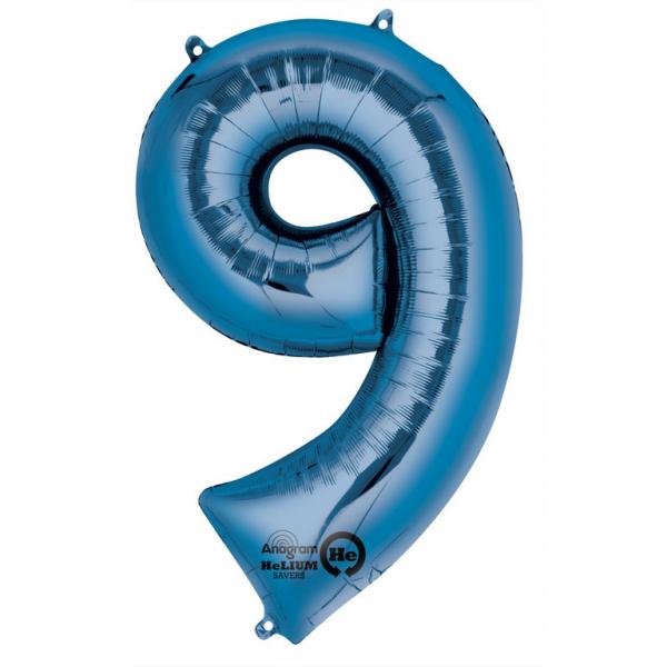 Balon folie cifra 9 albastru 66cm [0]