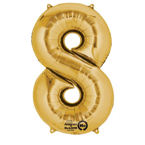 Balon folie cifra 8 auriu 66cm 0