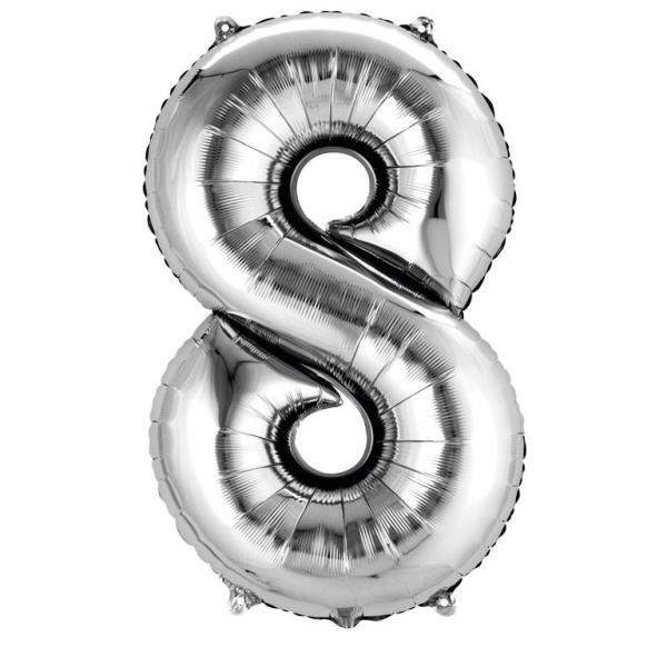 Balon folie cifra 8 argintiu 66cm [0]