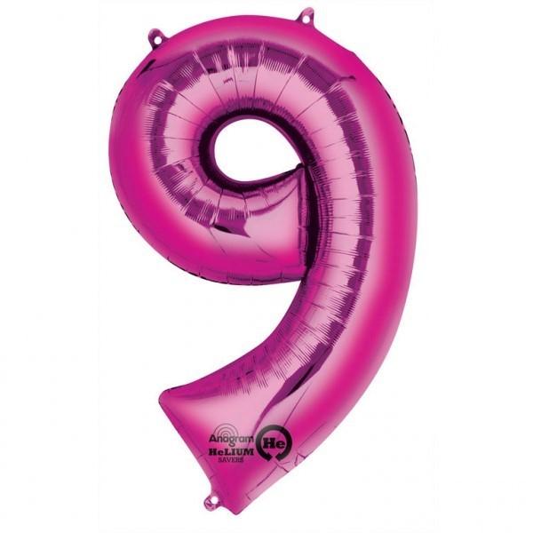 Balon folie cifra 9 roz 66cm [0]