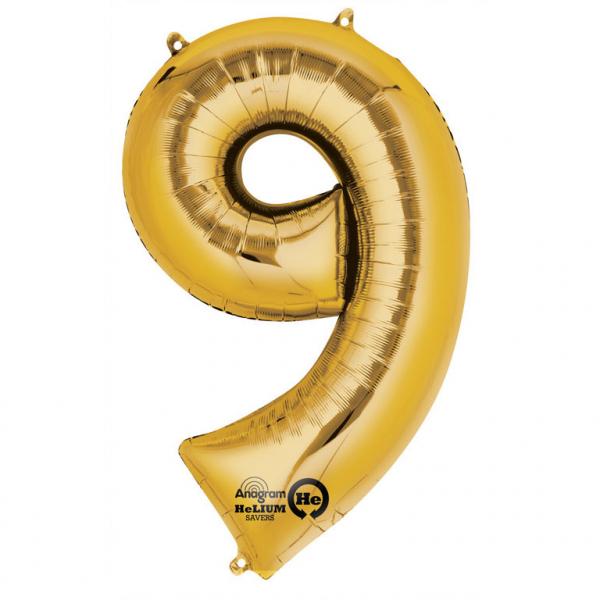 Balon folie cifra 9 auriu 87cm [0]