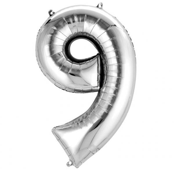 Balon folie cifra 9 argintiu 87cm [0]