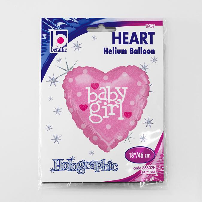 Balon folie inima holografic sclipici Baby Girl 46 cm [1]