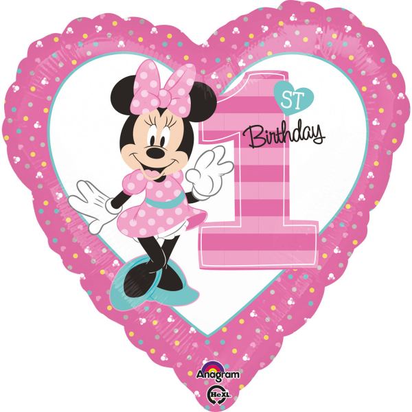 Balon folie Minnie 1st Birthday 43cm 026635343503 0