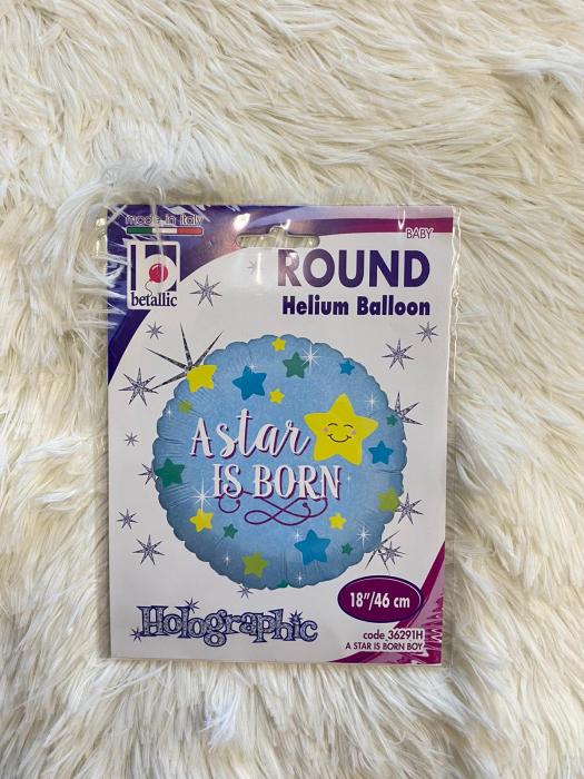 Balon folie rotund albastru A star is born boy 46 cm [3]