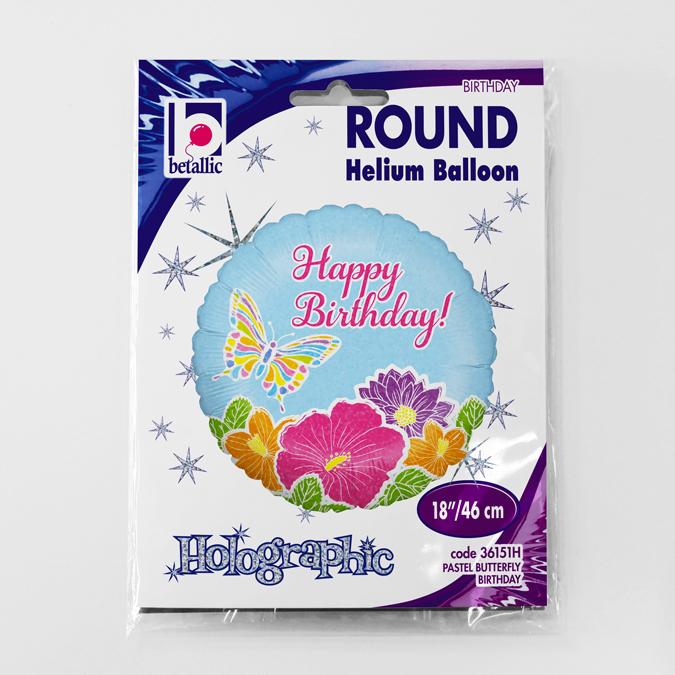 Balon folie rotund Happy Birthday fluture si flori 46 cm 2