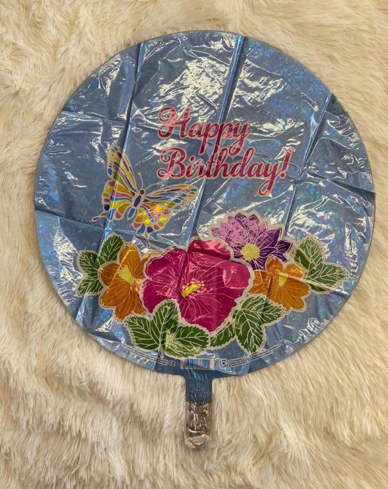 Balon folie rotund Happy Birthday fluture si flori 46 cm 1