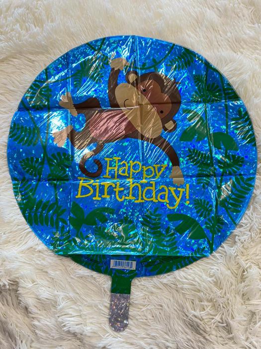 Balon folie rotund Happy Birthday maimuta 46 cm [1]