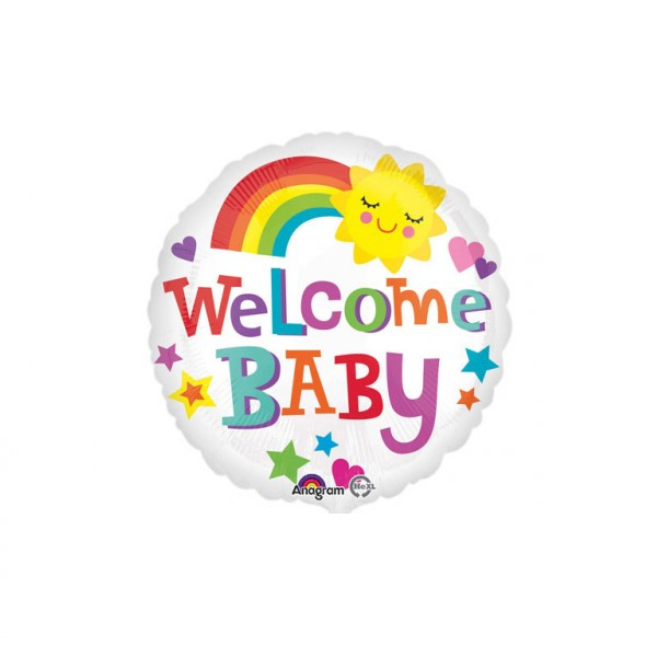 Balon folie Welcome baby / bebe curcubeu 43cm 0026635336383 0