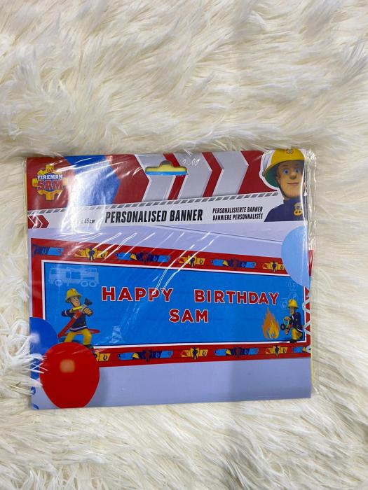 Banner plastic personalizabil Pompierul Sam 120 * 45 cm 3