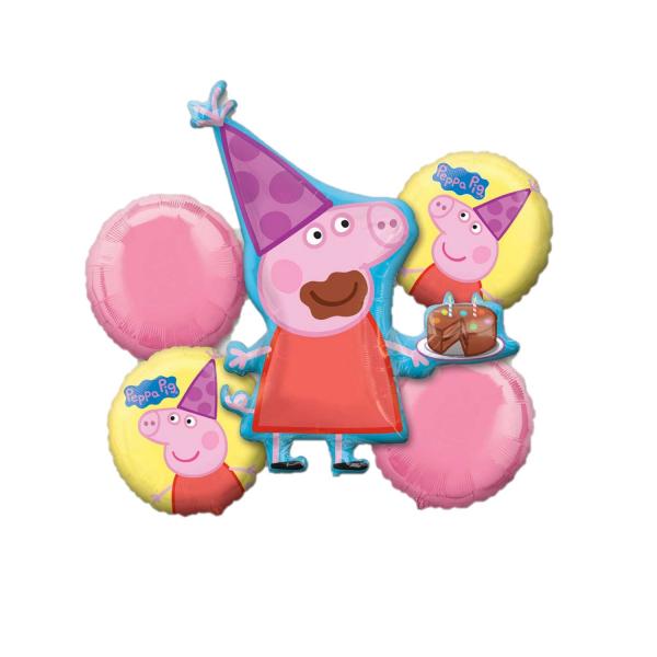 Buchet 5 baloane folie Peppa Pig 026635313018 0
