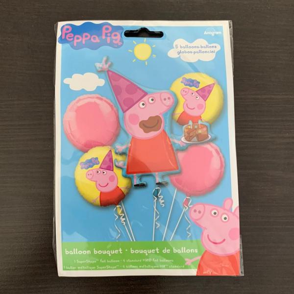 Buchet 5 baloane folie Peppa Pig 026635313018 1