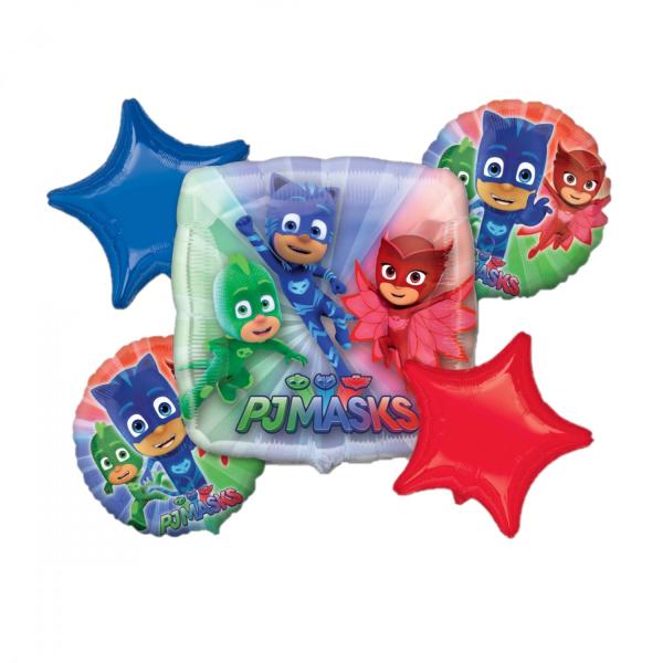 Buchet 5 baloane folie Eroi in Pijama 0026635346764 0