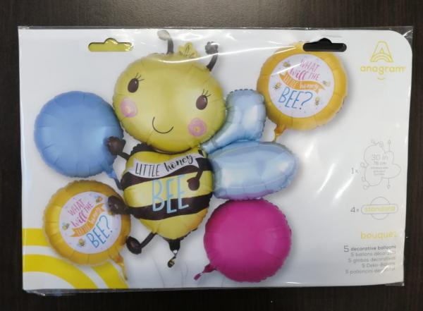 Buchet 5 baloane folie Little Honey Bee, Albina 0026635385480 1