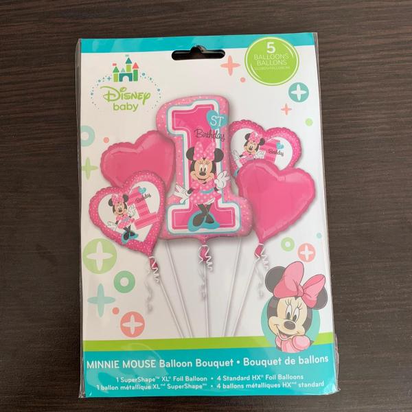 Buchet 5 baloane folie Minnie Mouse prima aniversare 1 an 0026635343794 [1]