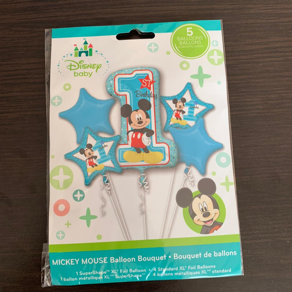 Buchet 5 baloane folie Mickey Mouse prima aniversare 1 an 0026635343411 1