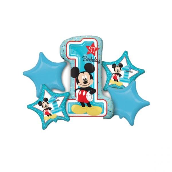 Buchet 5 baloane folie Mickey Mouse prima aniversare 1 an 0026635343411 0