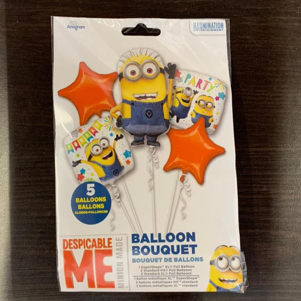 Buchet 5 baloane folie Minions / Despicable Me 0026635361491 1