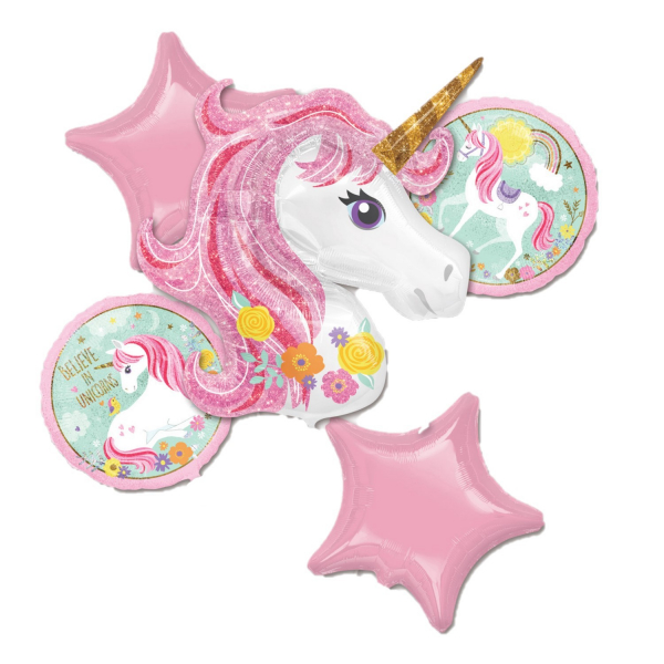 Buchet 5 baloane folie unicorn roz 0026635372749 0