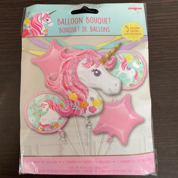 Buchet 5 baloane folie unicorn roz 0026635372749 1