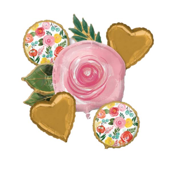 Buchet 5 baloane folie trandafiri 026635394840 0