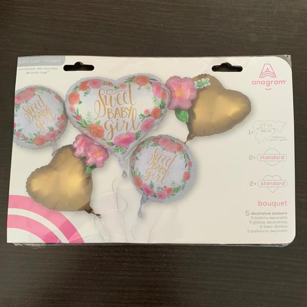 Buchet 5 baloane folie Sweet Baby Girl 026635385169 1
