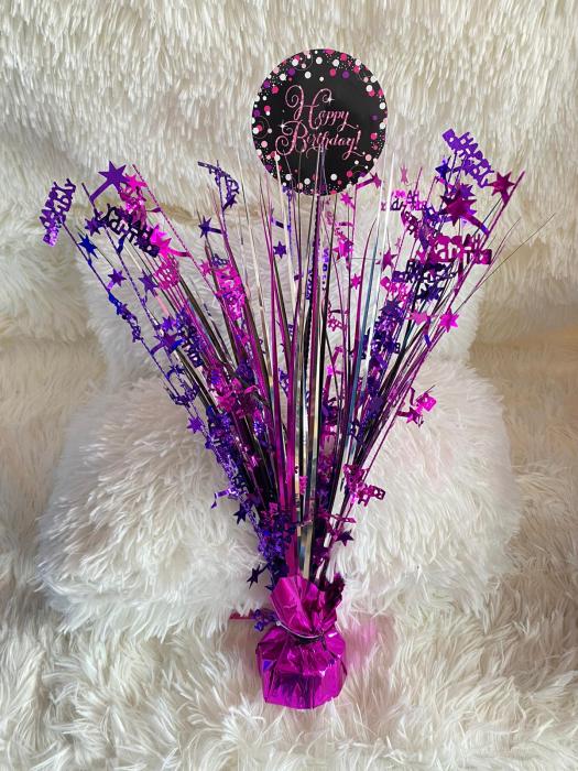 Centru de masa Happy Birthday roz 45 cm 2