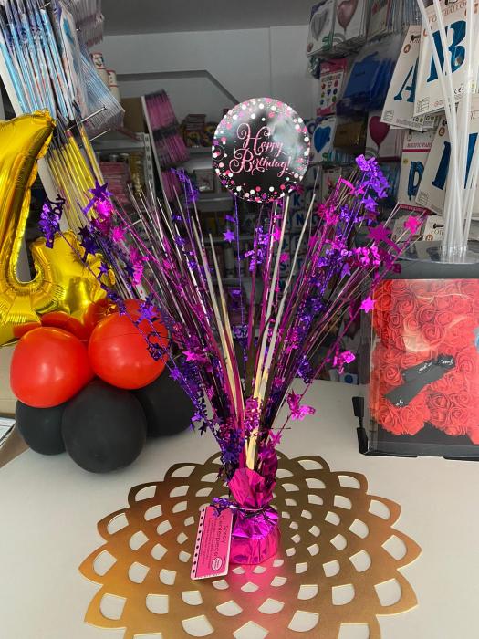 Centru de masa Happy Birthday roz 45 cm 1