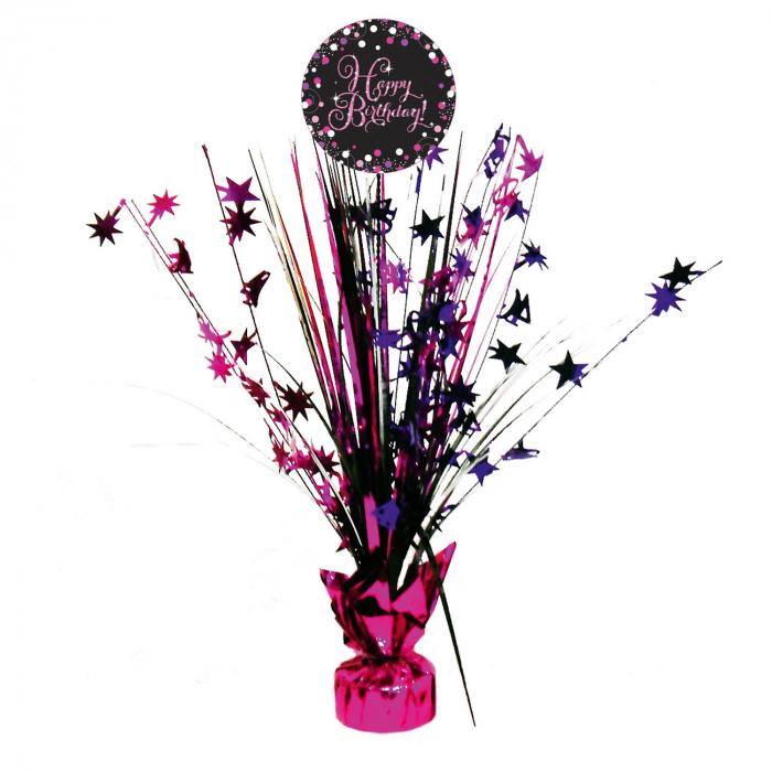 Centru de masa Happy Birthday roz 45 cm 0