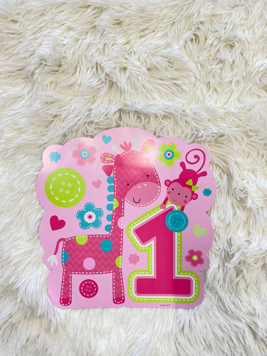 Kit decoratiuni carton camera 1 an fetita 10 buc 7