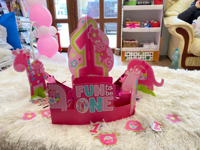 Kit decoratiuni carton masa 1 an fetita 23 bucati 2