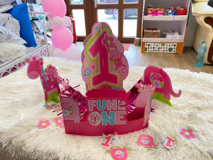 Kit decoratiuni carton masa 1 an fetita 23 bucati 1