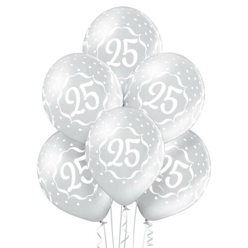 Set 6 baloane latex 25 ani argintiu 30 cm [0]