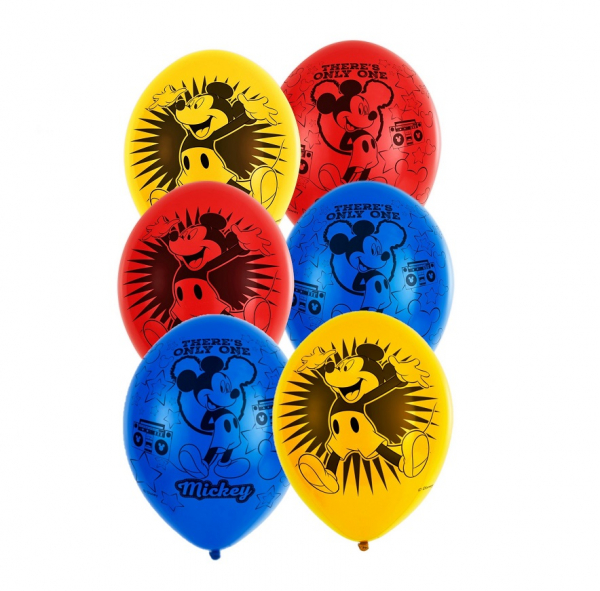 Set 6 baloane latex imprimate Mickey 3 culori 27.5cm 0
