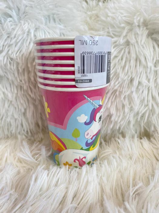 Set 8 pahare carton Unicorn Multicolor 250 ml 1