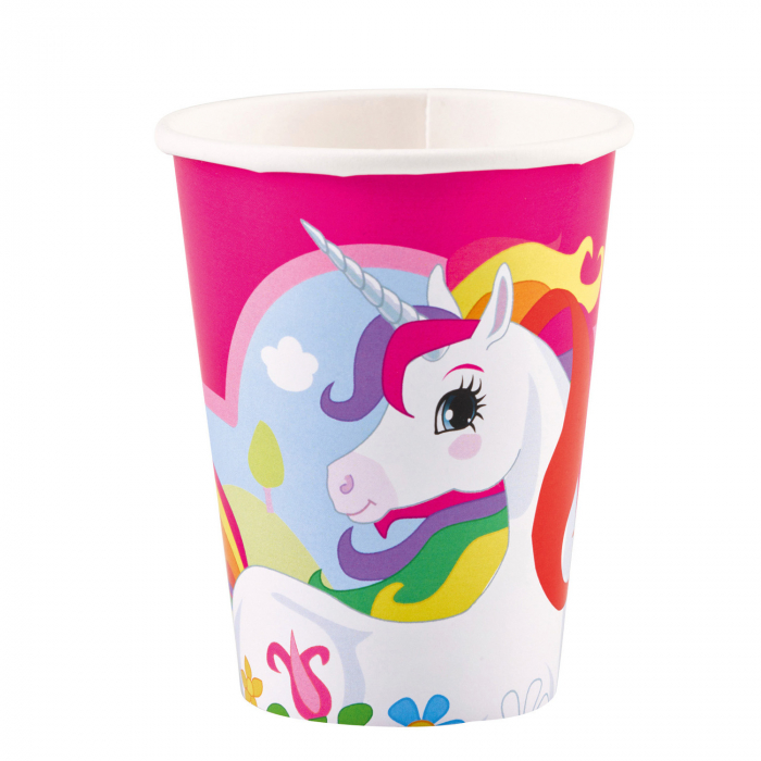 Set 8 pahare carton Unicorn Multicolor 250 ml 0