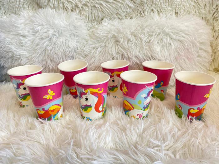 Set 8 pahare carton Unicorn Multicolor 250 ml 3