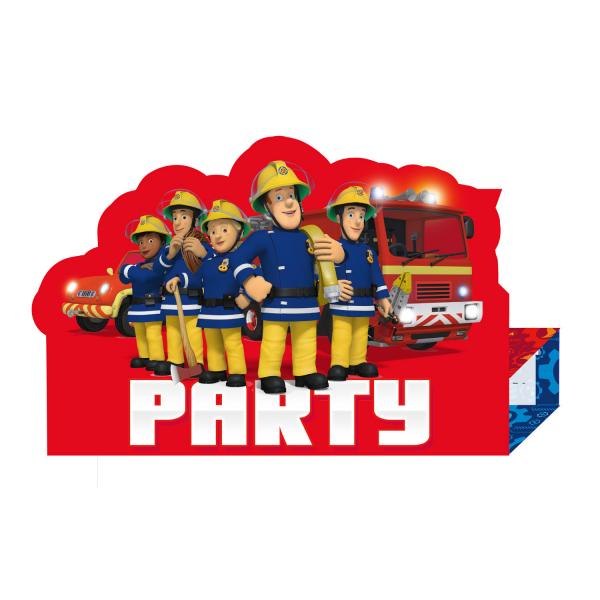 Set 8 invitatii  Pompierul Sam / Fireman Sam 16 x 11cm 0013051743451 0