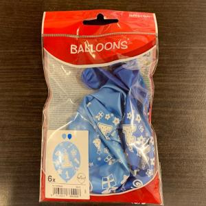 Set 6 Baloane Aniversare 1 an Albastru 27.5 cm 00130513809081