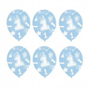 Set 6 Baloane Aniversare 1 an Albastru 27.5 cm 00130513809080