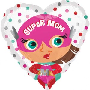Balon folie Super Mom / Super Mama inima 43cm 00266353706600