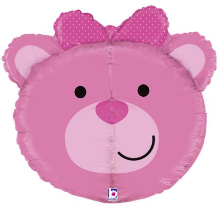 Balon folie cap urs roz 3D 69 cm [0]