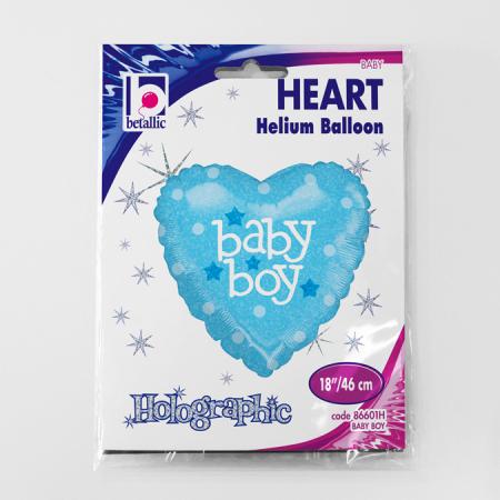 Balon folie inima holografic sclipici Baby Boy 46 cm [1]
