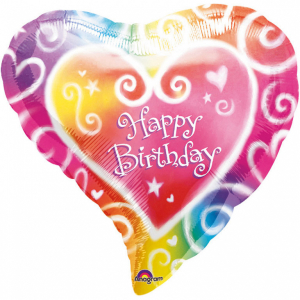 Balon folie Inima Multicolor Happy Birthday 38 cm 0026635076357 [0]