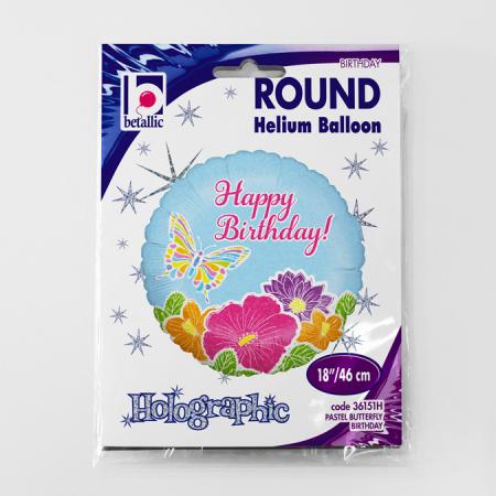 Balon folie rotund Happy Birthday fluture si flori 46 cm2