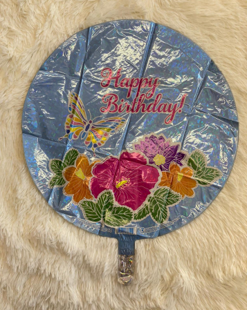 Balon folie rotund Happy Birthday fluture si flori 46 cm1