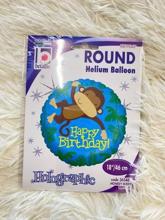 Balon folie rotund Happy Birthday maimuta 46 cm [2]