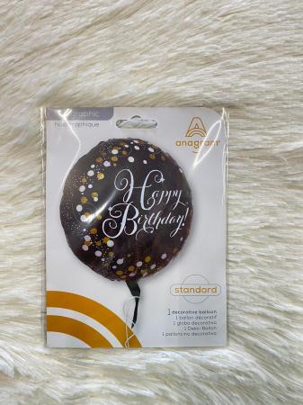 Balon folie rotund Happy Birthday negru cu auriu 43 cm [2]