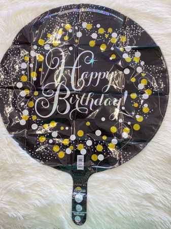 Balon folie rotund Happy Birthday negru cu auriu 43 cm [1]