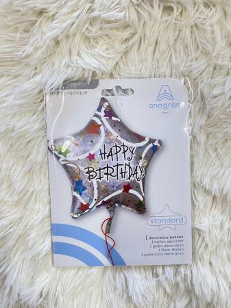 Balon folie stea Happy Birthday confetti 45 cm [2]